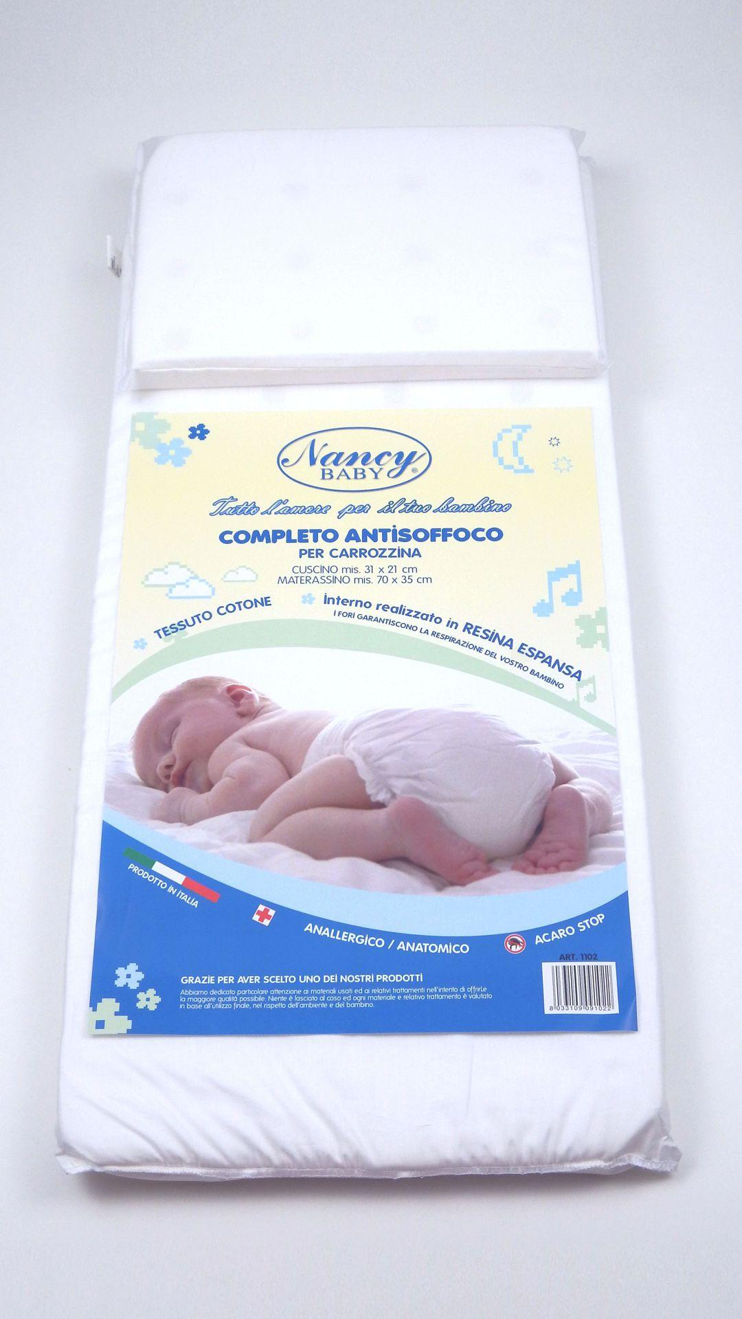 Materassino cuscino culla carrozzina nancy baby for Misure cuscino carrozzina
